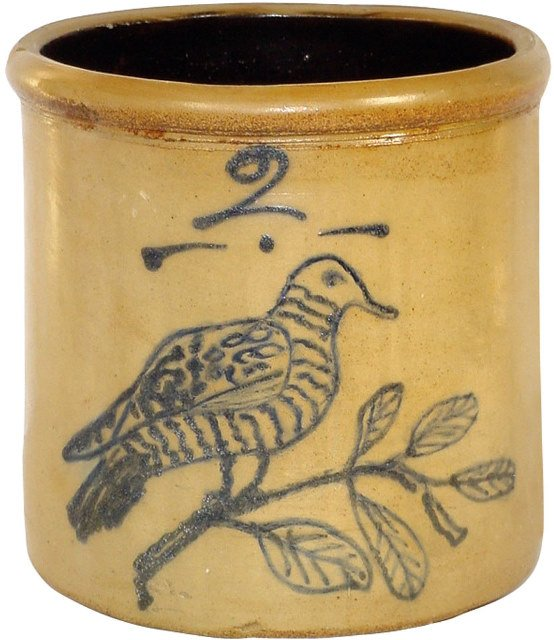 1042: Salt glazed stoneware 2 gal. crock, hand decorate