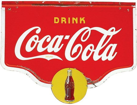 1101: Porcelain Coca-Cola double sided hanging sign, c.