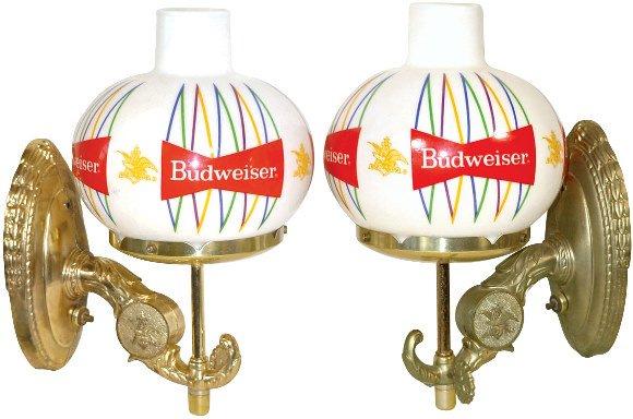 1122: Budweiser Beer wall lights, matching pr., new old