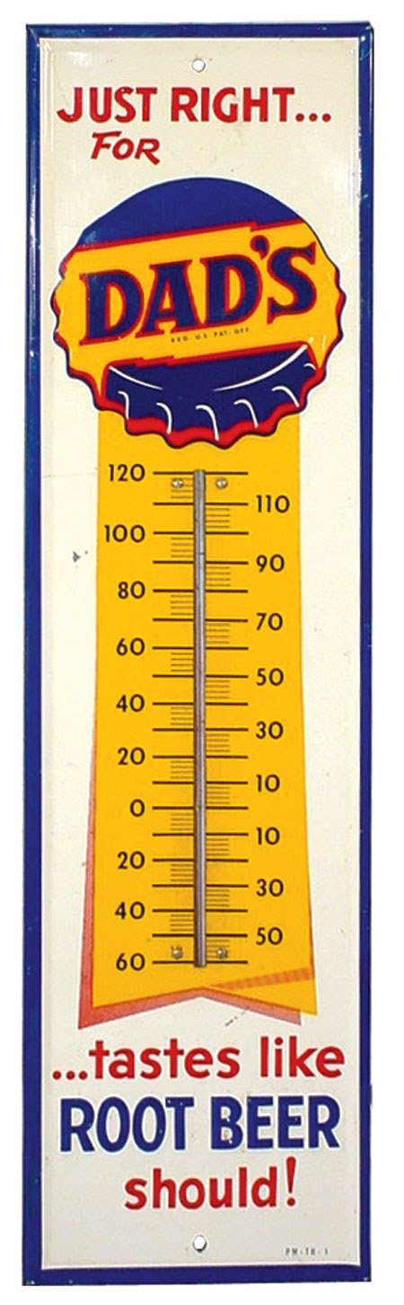 1203: Dad's Root Beer thermometer, litho on embossed ti