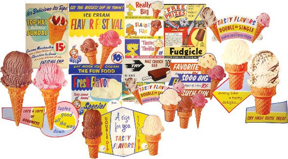 1211: 22 ice cream treat paper signs; 21 different 5 &