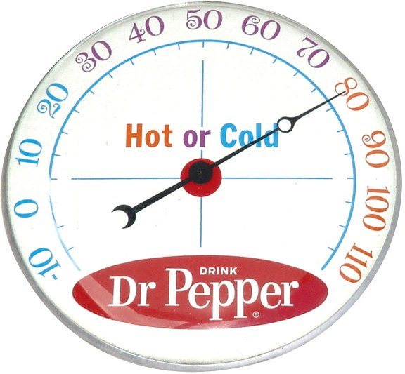 1223: Dr Pepper thermometer, mfgd. by Pam Clock Co., ro