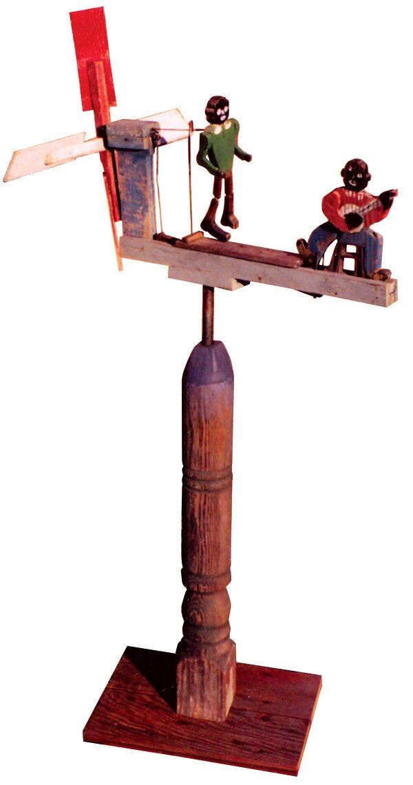 1234: Folk art Black whirligig from Tennessee, one danc
