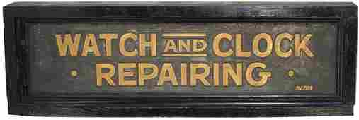 1235: Watch And Clock Repairing primitive trade sign, s