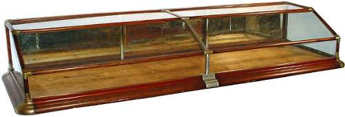 1275: Countertop display case, walnut double slant top