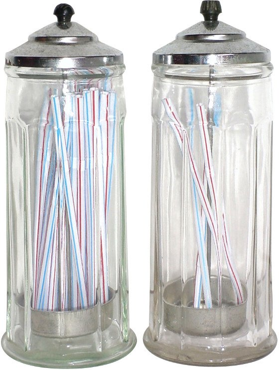 1286: Glass straw holders w/chrome lids, both in Exc. c