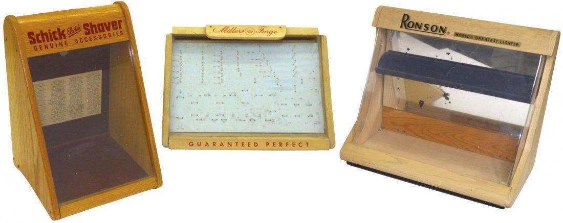 0012: Schick Shaver display case, wood w/slanted front,