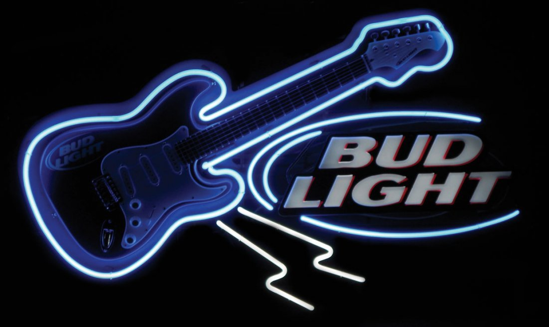 0021: Breweriana, Bud Light Guitar neon sign, new-old-s
