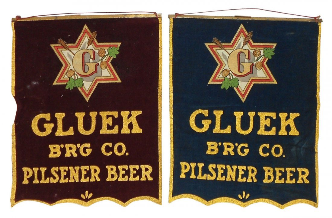 0043: Breweriana, banner signs for Gluek Brewing Co & P