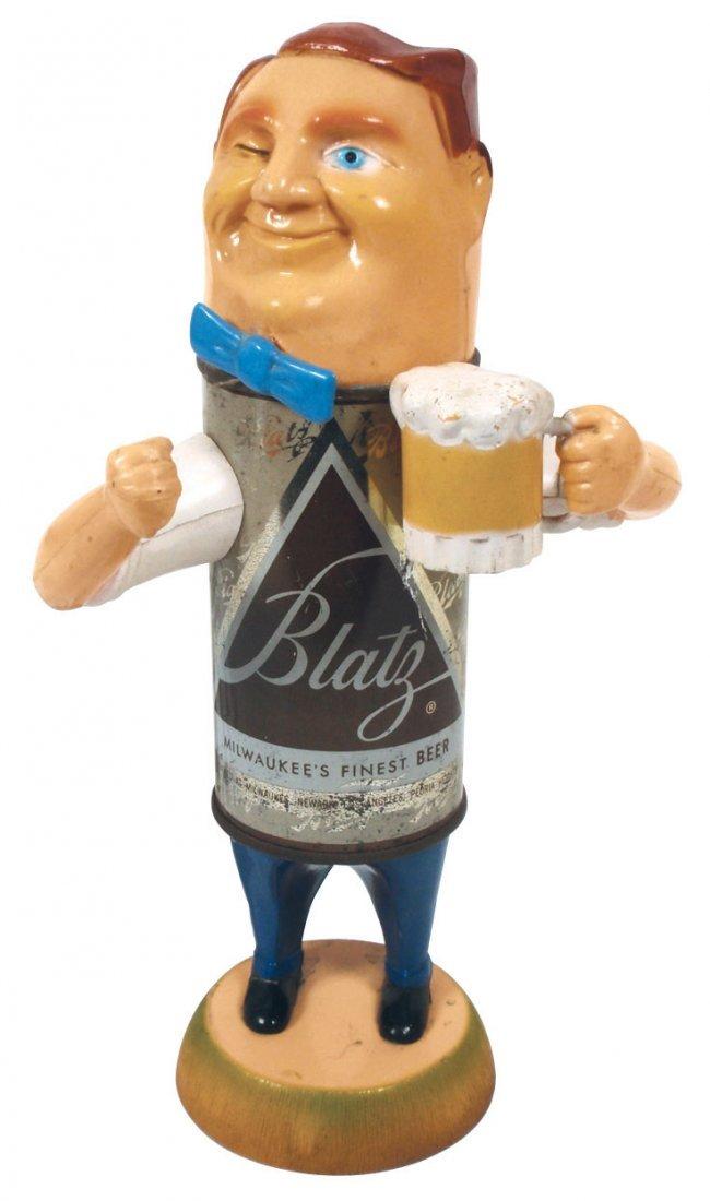 "0085: Breweriana display figure, Blatz winking ""Can"" ma"