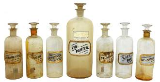 0095: Apothecary bottles (7), glass w/glass labels, lar