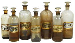 0096: Apothecary bottles (7), glass w/glass labels, lar