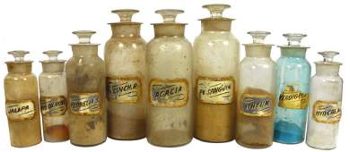 0097: Apothecary bottles (9), glass w/glass labels, 5 l