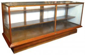 Floor Display Case, Oak W/2 Wood Shelves, Mfd By