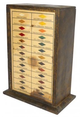 Diamond Dyes Cabinet, Wood Case W/glass Front, Fr