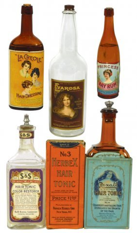 Drug Store Items (6), Early Hair Product Bottles,