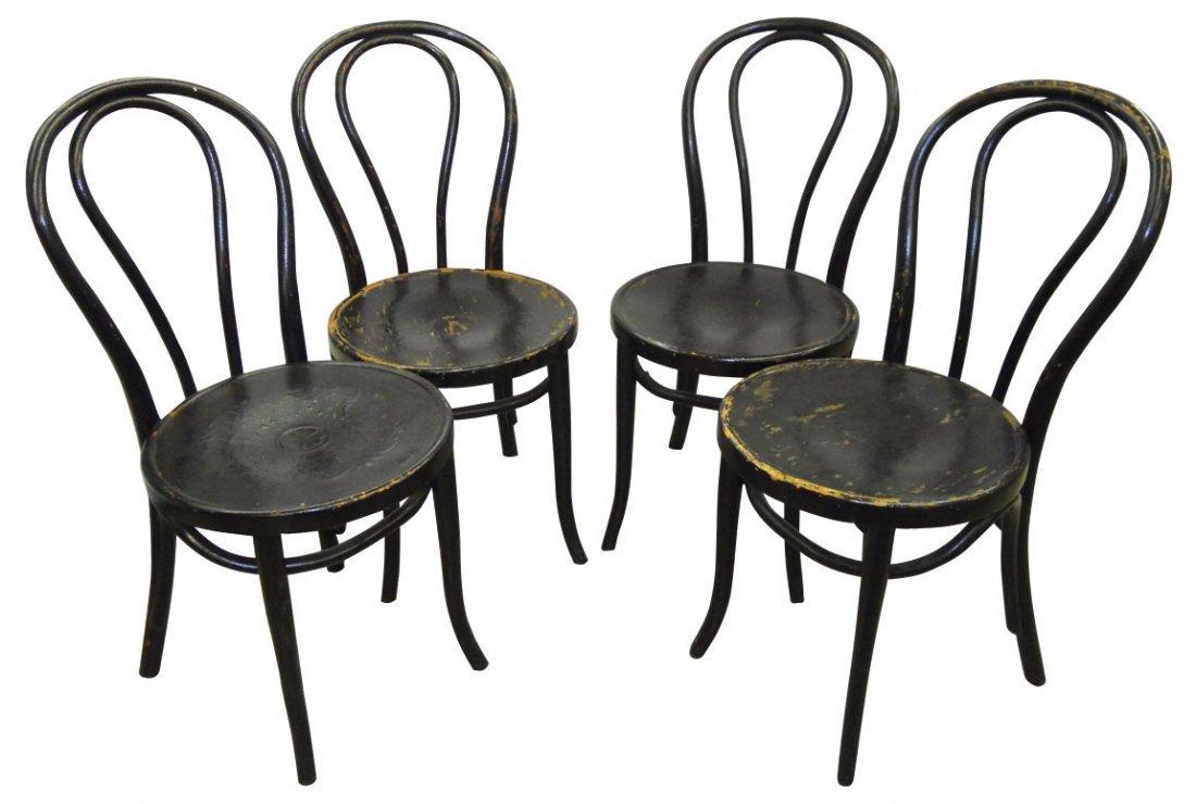 0150: Soda fountain chairs, 4 oak bentwood chairs w/bla