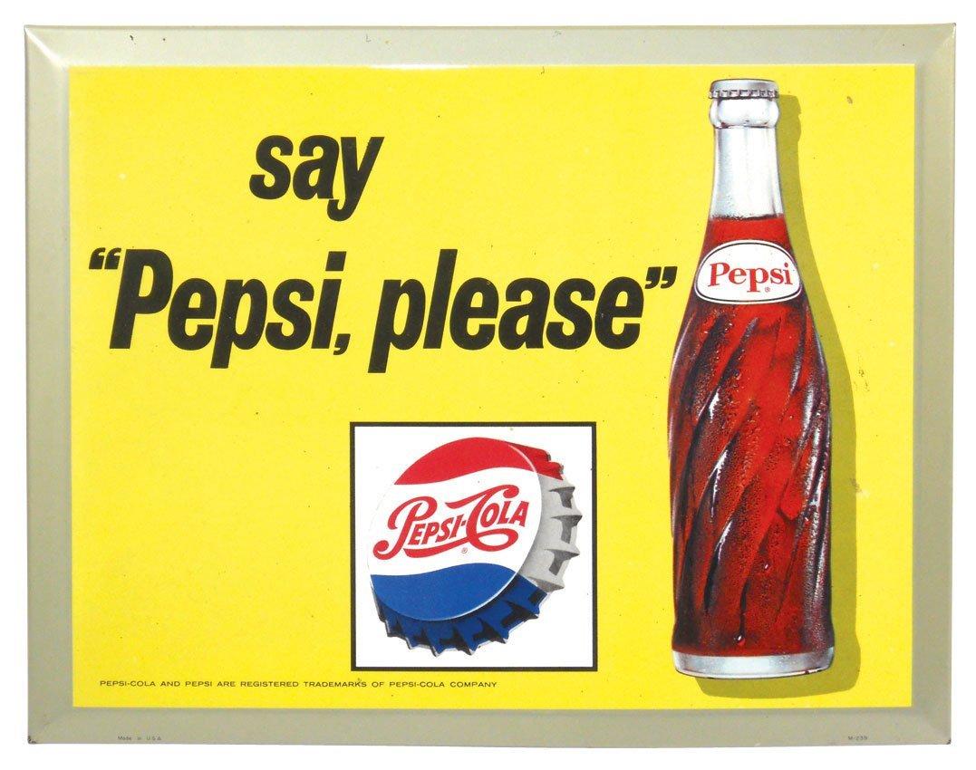 "0153: Pepsi-Cola sign, ""Say Pepsi, please"", (2) metal e"