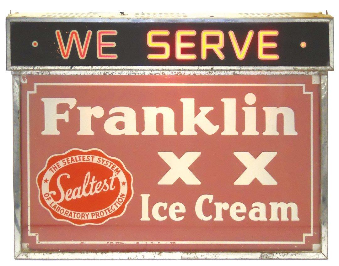 0156: Soda fountain Franklin Ice Cream hanging light-up