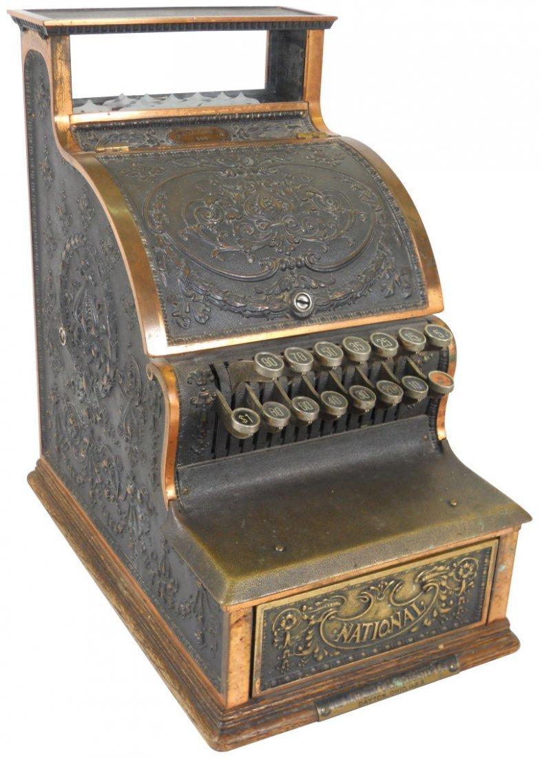 0158: Cash register, National, Model 311, brass registe
