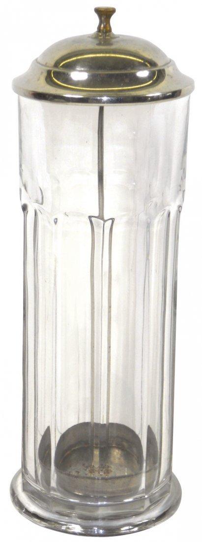 0159: Soda fountain straw jars (3), glass jars w/chrome