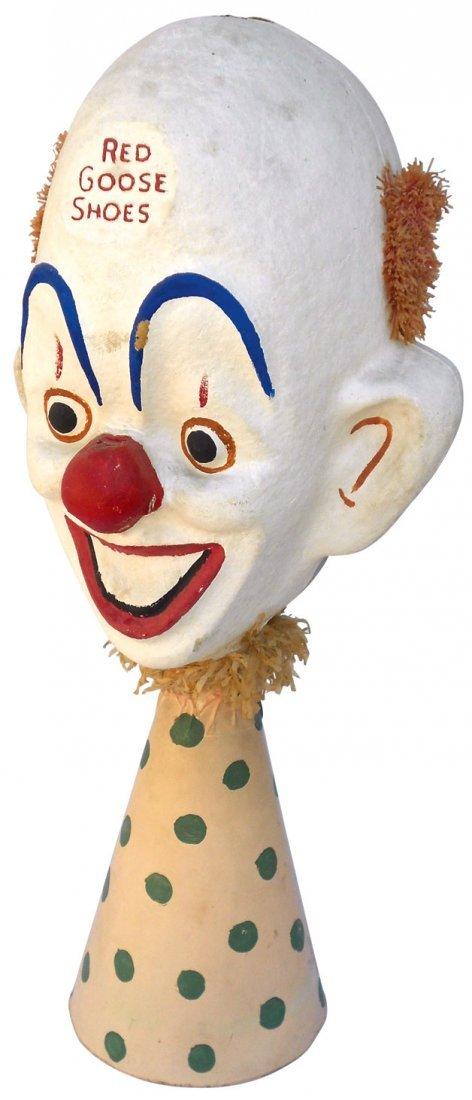0161: Red Goose Shoes papier-mâché clown, two-faced, on