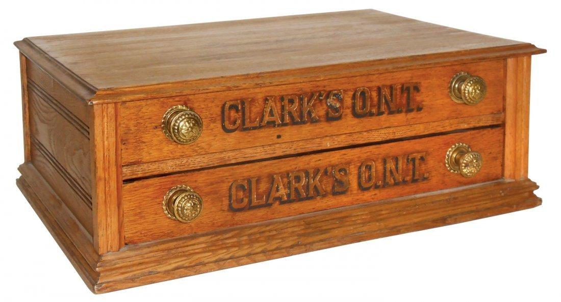 0165: Spool cabinet, Clark's O.N.T., oak 2 drwr w/brass