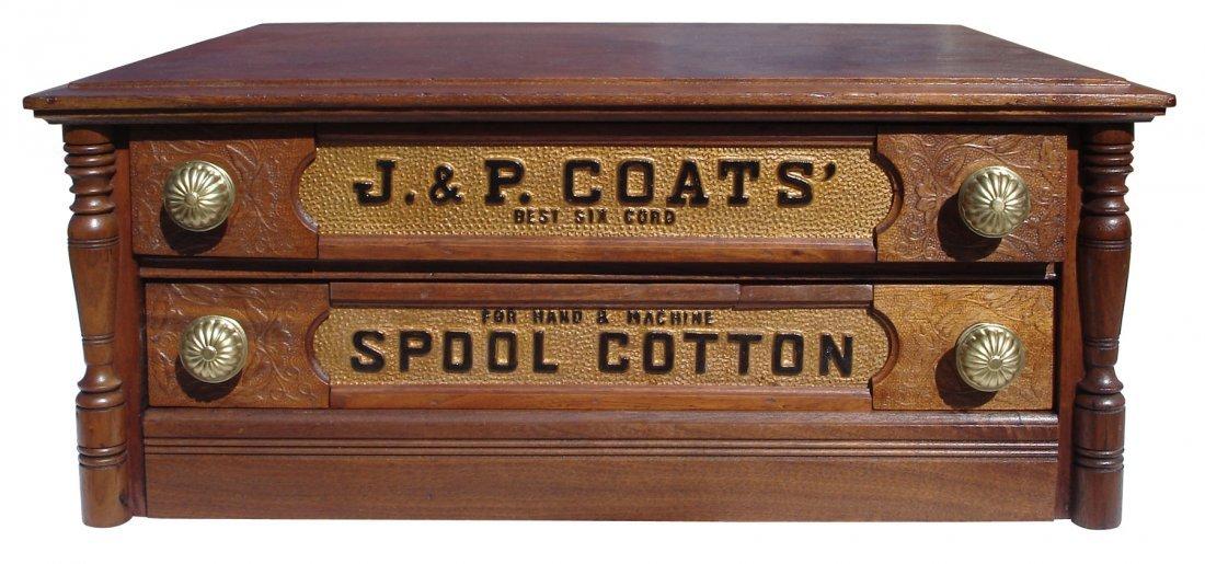 0167: Spool cabinet, J&P Coats', walnut 2 drwr w/presse