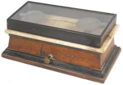 0547: Drug store balance scale, wood case w/marble lift