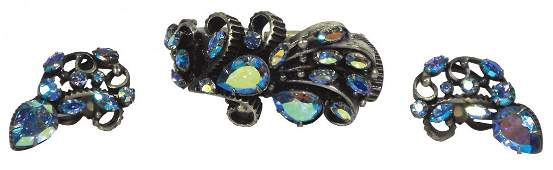 0727: Jewelry, 5 pcs, includes amethyst rhinestone broo