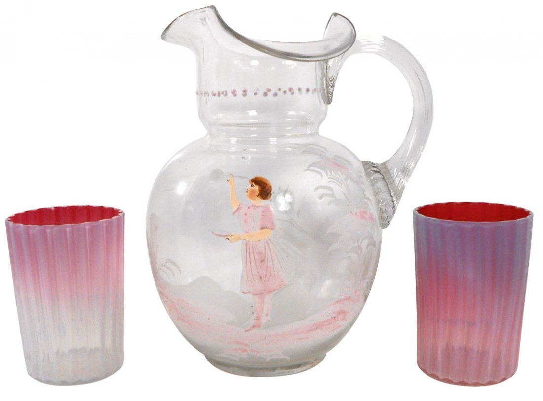 0752: Glassware, Mary Gregory pitcher, hand-blown clear