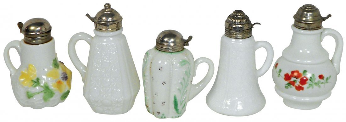 0753: Glassware, milk glass syrup pitchers (5), all lat
