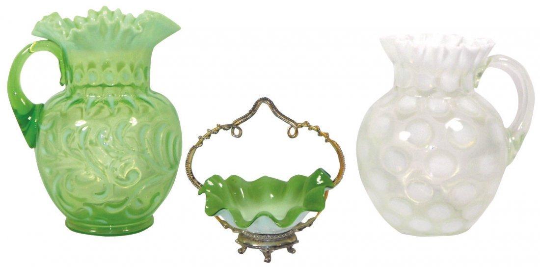 0754: Glassware (3 pcs), green & white opalescent pitch