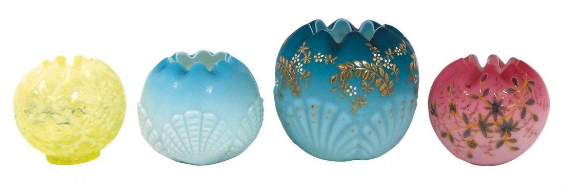 0755: Glassware, (4) rose bowls, cased & pattern glass,