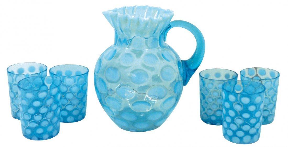 0757: Glassware, blue thumbprint pitcher w/ruffled top