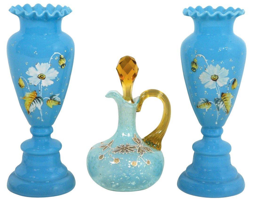 0759: Glassware, Bristol glass vases, matching pr, hand