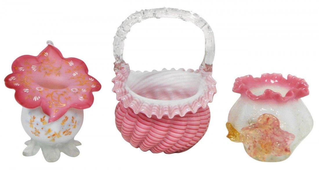 0760: Glassware, candy-striped basket, hand-blown w/ruf