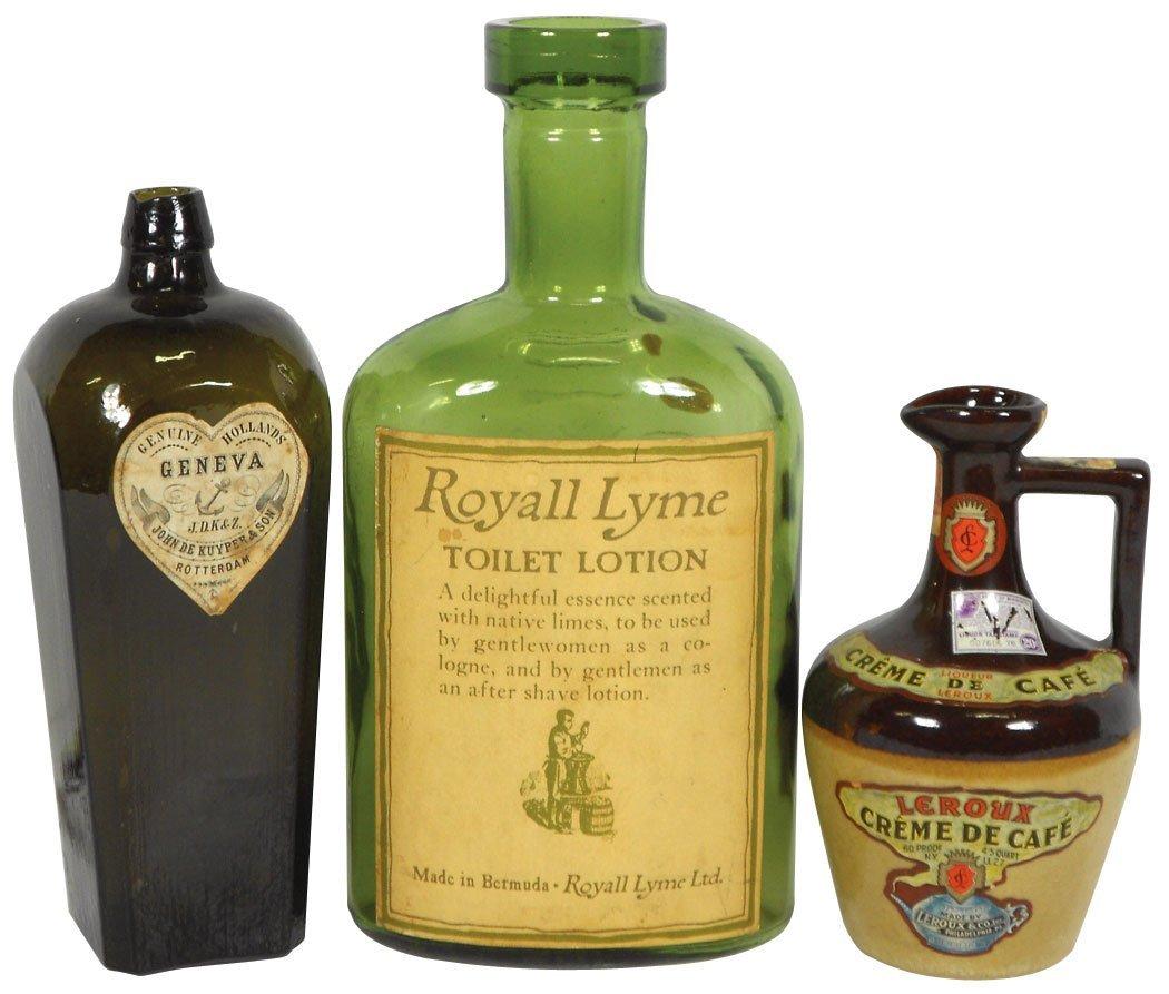 0761: Bottles & stoneware liquor decanter (3), John Kuy