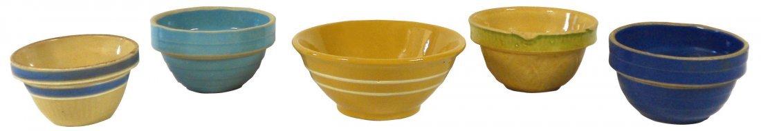 "0763: Stoneware bowls (5), (1) 4.5"", (3) 5"" & (1) 6.25"""