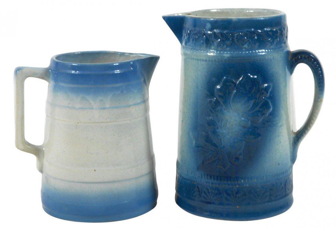 0764: Stoneware pitchers (2), American Beauty Rose w/bl