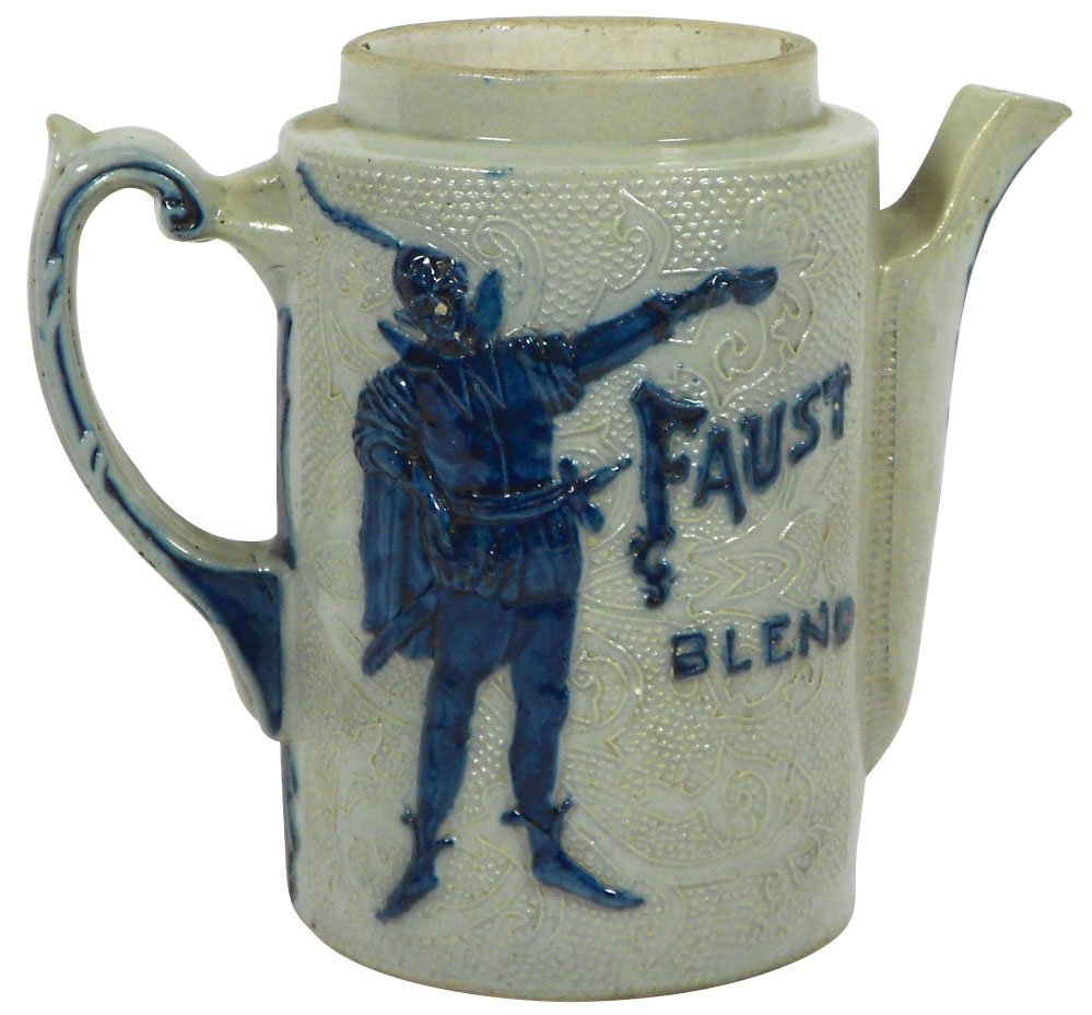 0766: Stoneware pitcher, Flemish, embossed Faust Blend,