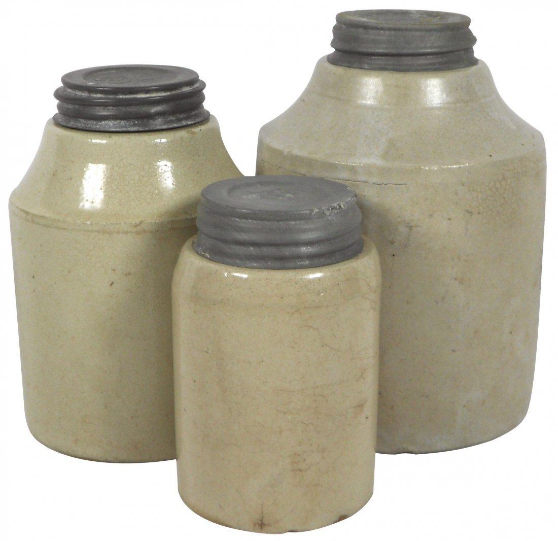 0769: Stoneware, 3 Macomb preserve jars, marked on bott
