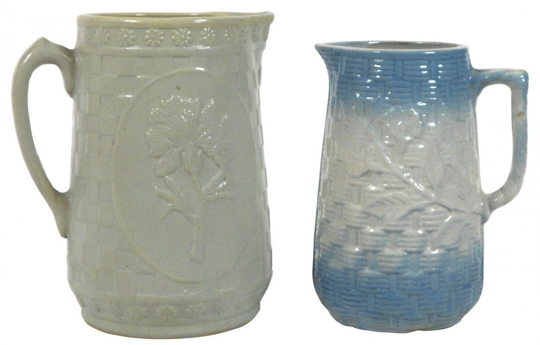 0770: Stoneware pitchers (2), blue & white Basketweave