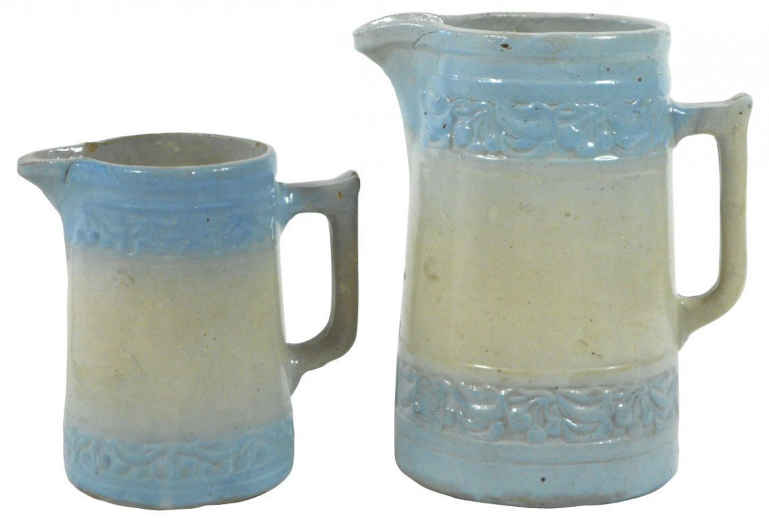 0771: Stoneware pitchers (2), blue & white Cherry Band,