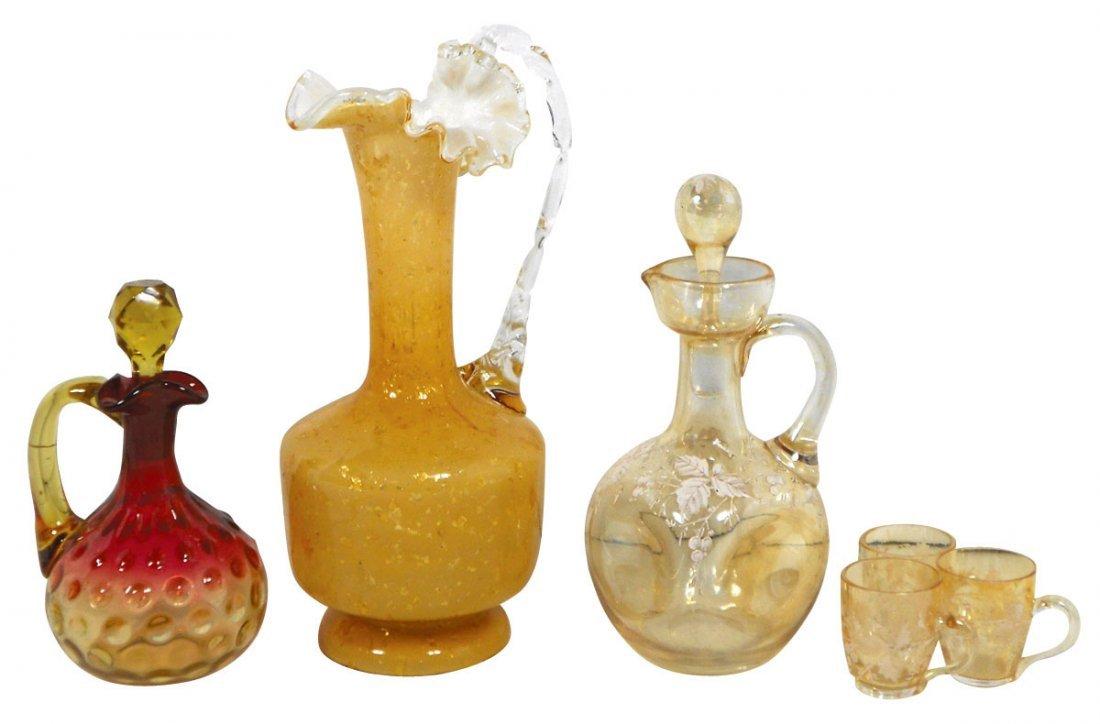 0773: Glassware, cruets, ewer & carafe w/cups (6 pcs),