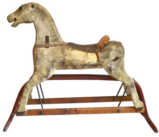 0815: Toy, platform rocking horse, wood, later 1800's,
