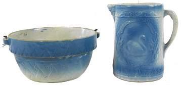 0863: Stoneware pitcher & bowl (2 pcs), blue & white Le