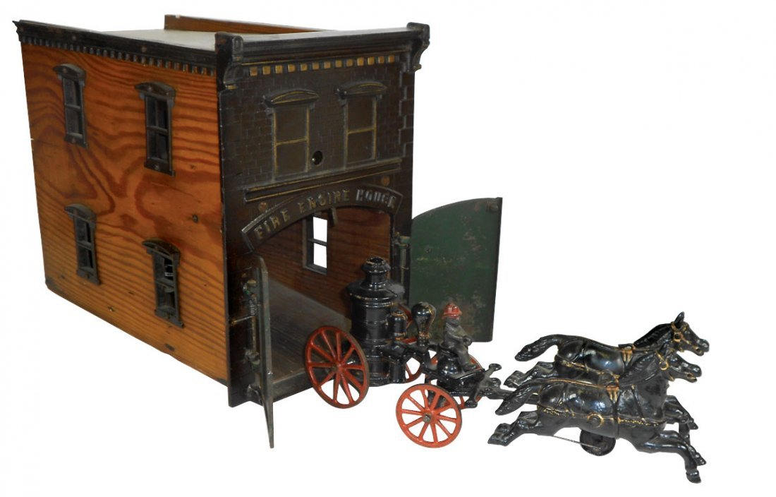 1031: Toy Fire House & Pumper, Ives, cast iron & wood w
