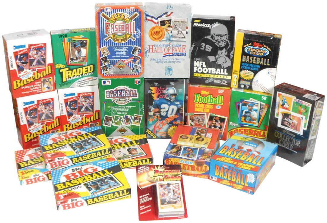 Sports cards (20 boxes), Baseball: 6 topps-'89-'90, 3 D