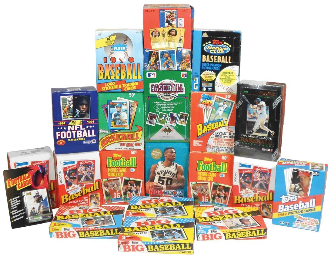Sports cards (20 boxes), Baseball: 8 topps-'89-'93, 3 D